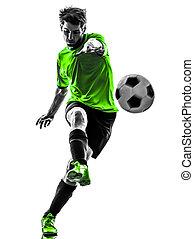 fußballfootball, spieler, junger mann, treten, silhouette