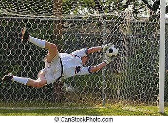 fußballfootball, zielbewahrer, machen, retten