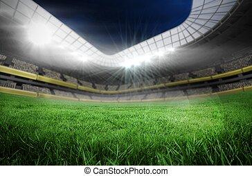 fußballplatz, in, groß, stadion