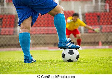fußballspieler, angriff, verteidigung, mannschaft, schießen
