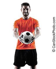fußballspieler, mann, freigestellt, silhouette