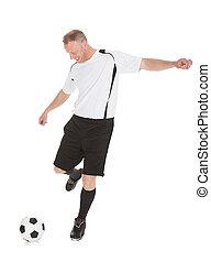 fußballspieler, treten, fußball