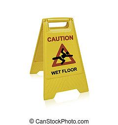 fußboden naßmachen, zeichen