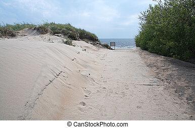 fußgänger, sandstrand, strandpromenade