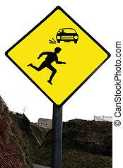 fußgänger, warnung, gelbes zeichen