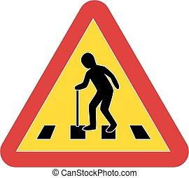 fußgänger, warnung, verkehr, senioren, zeichen