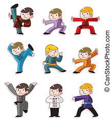 fu, chinês, kung, caricatura, ícone