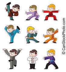 fu, chinois, kung, dessin animé, icône