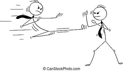 fu, due, combattimento, cartone animato, karate, uomini affari, o, kung