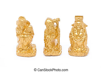 Fu Lu Shou, Chinese lucky god graven image isolated on...