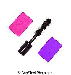 Fuchsia and violet colored eyeshadow with mascara on white