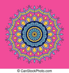 fuchsia background with colorful ornamental flower mandala vintage decorative