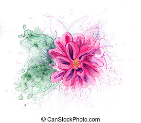 watercolor stylized flower fuchsia with green leaves