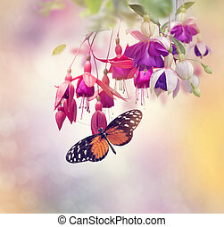 Fuchsia Flowers and butterfly - Red and Purple Fuchsia...