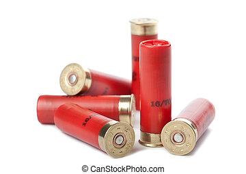 fucile caccia, cartucce, isolato, sopra, bianco