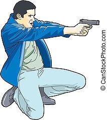 fucile, presa a terra, uomo
