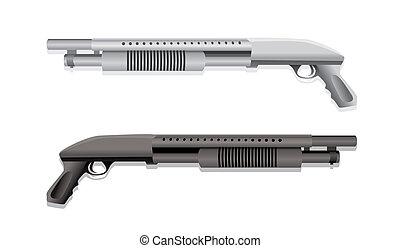 fucili caccia, isolato, realistico, illustrazione, due