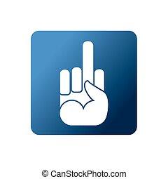 Fuck flat Web icon. Symbol naughty on a blue background....