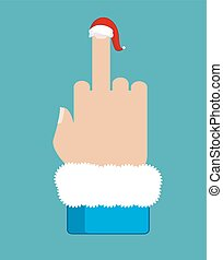 Fuck Santa Claus. Middle finger in red Christmas hat. Aggressive symbol new year. Bad sign Dislike