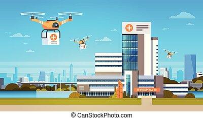 fuco, con, scatole, sorvolare, moderno, costruzioni, fondo, aeri trasporto, consegna, concetto