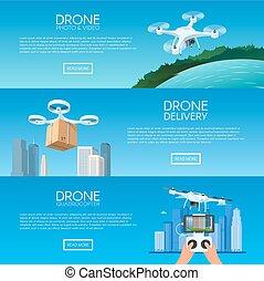 fuco, con, telecomando, volando, city., consegna pizza, vicino, quadcopter., aereo, fuco, con, macchina fotografica, presa, fotografia, e, video, concetto, vettore, illustrazione