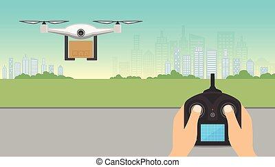 fuco, consegna, concept., fuco, portante, scatola cartone, con, telecomando, volando, city., copter, o, quadcopter, servizio, ordine, mondiale, shipping., moderno, design.