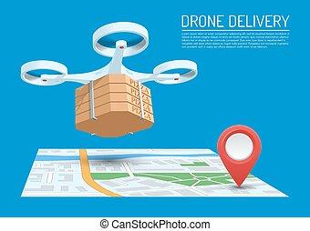 fuco, consegna, concetto, vettore, illustration., quadcopter, volando, uno, mappa, e, portante, uno, pacchetto, con, pizza.