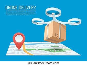 fuco, consegna, concetto, vettore, illustration., quadcopter, volando, uno, mappa, e, portante, uno, pacchetto