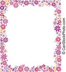 fucsia, rosa florece, frontera, patrón