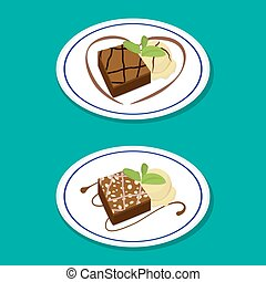 Fudge Brownie on dish with icecream, vector