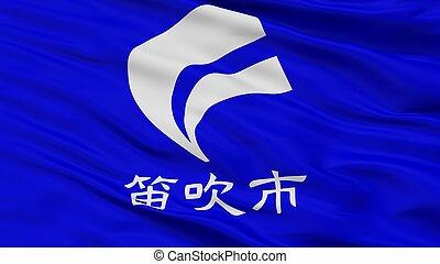 Fuefuki City Flag, Japan, Yamanashi Prefecture, Closeup View...