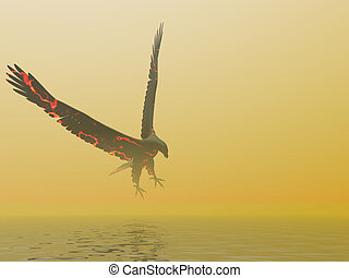 fuego, águila, niebla