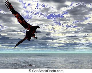 fuego, águila, tormenta