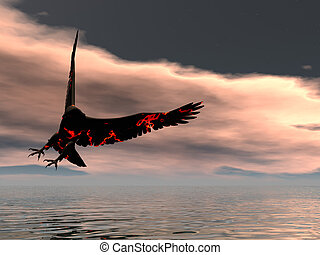 fuego, águila, vuelta
