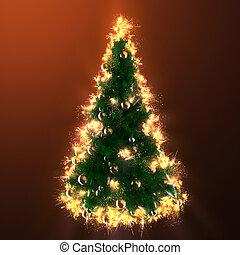 fuego, árbol, navidad