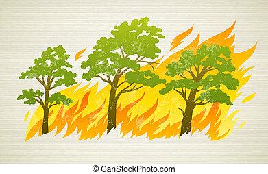 fuego, árboles, desastre, abrasador, bosque