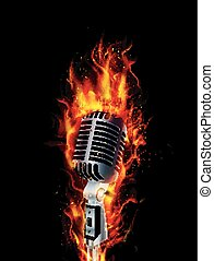 fuego, abrasador, micrófono