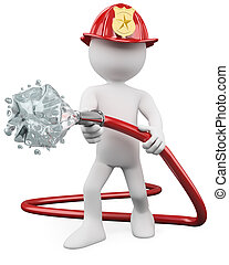 fuego, afuera, 3d, poniendo, bombero