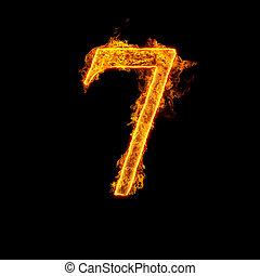 fuego, alfabeto, siete, número 7