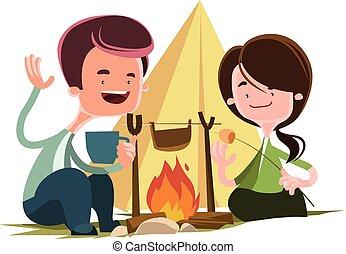 fuego, amigos, campamento, luego