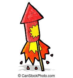fuego artificial, caricatura, cohete