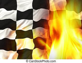 fuego, bandera, chequered