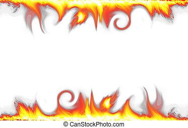 fuego, blanco, frontera, aislado, plano de fondo