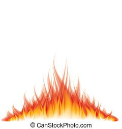 fuego, blanco, vector, ilustración, abrasador