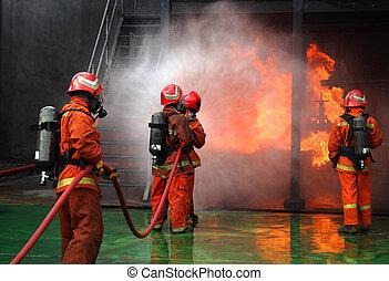 fuego, Bomberos, lucha