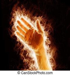fuego, brazos abiertos, mano humana