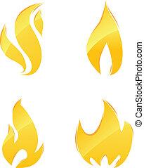 fuego, brillante, iconos