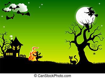 fuego, bruja, halloween, alrededor, bailando