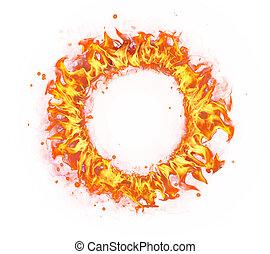 fuego, círculo, aislado, blanco, plano de fondo