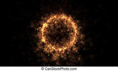 fuego, círculo, plano de fondo